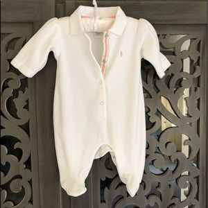 Like new velour RALPH LAUREN onesie white